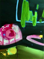 A series of abstract modern art oil paintings based on a drive around London at night, green and pink with sublime abstract shapes.