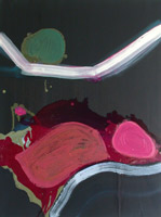abstract oil painting dark and bright colours blood red bright pink and green circles, inspired by a journey